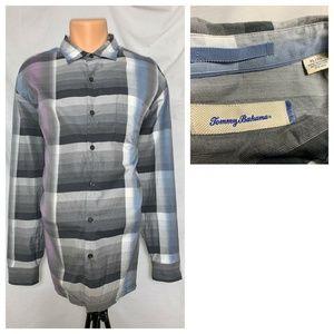 Tommy Bahama Plaid Silk Blend XL Button Shirt